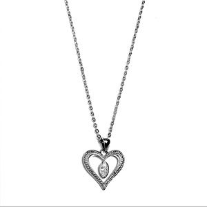 Silver sweet heart eye leaf crystal necklace